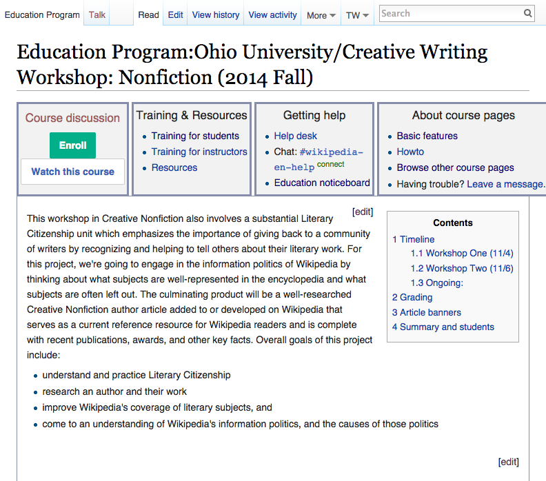 Literary Citizenship Wikipedia Course Page