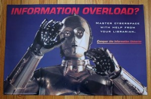 "An Image of C3PO with his hands up and the tag ""Information Overload"""