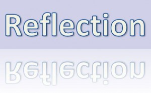 "The Word Reflection in a Square with the word ""Reflection"" reflecting in a square in lighter colors"