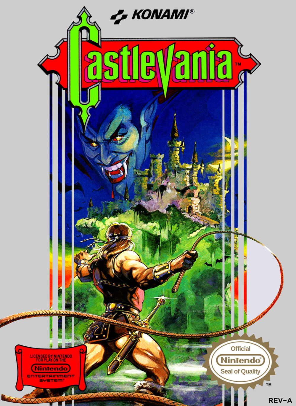 Cover of the first Nintendo Castlevania game, featuring Simon Belmont confronting Dracula's castle, with Dracula's face superimposed on the sky.
