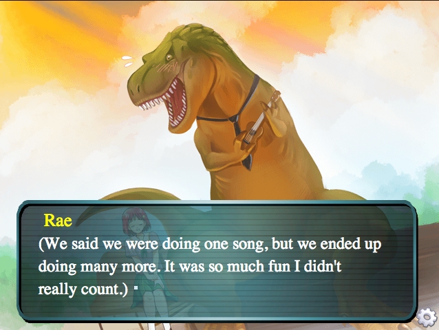 A screenshot from the dating simulation Jurassic Heart.