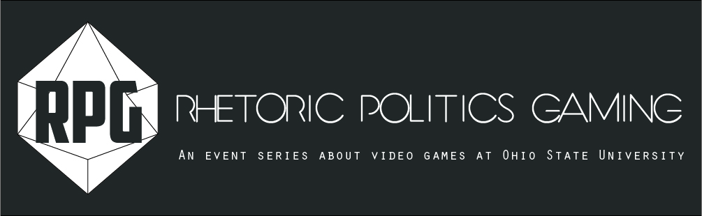The logo for the Rhetoric, Politics, and Gaming series at Ohio State.