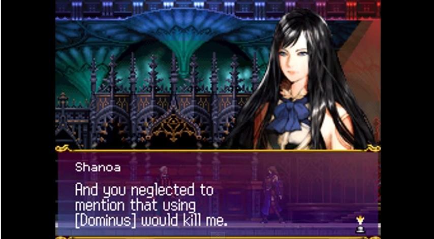 Screenshot of the battle between Shanoa and her mentor Barlowe.
