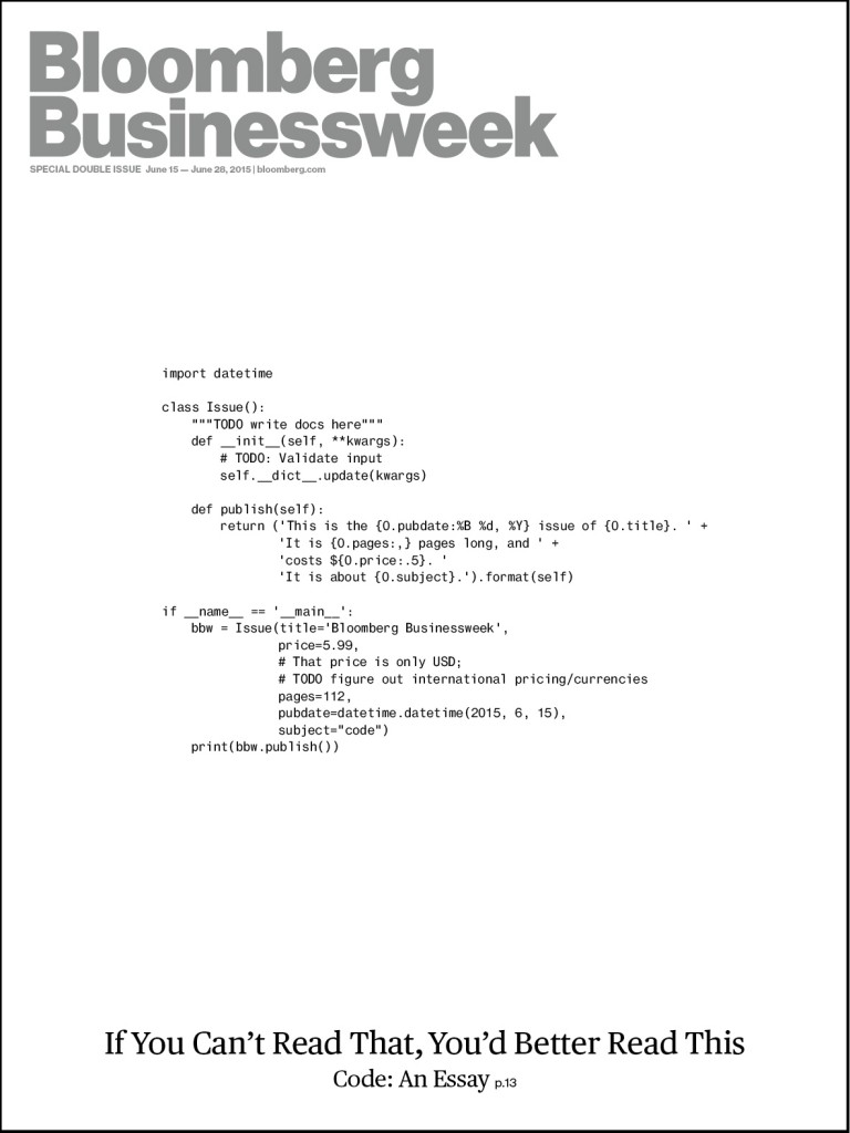 "An image-free magazine cover that displays code and then at the bottom displays, ""If you can't read this, you better read this: code: an essay, p. 13"""