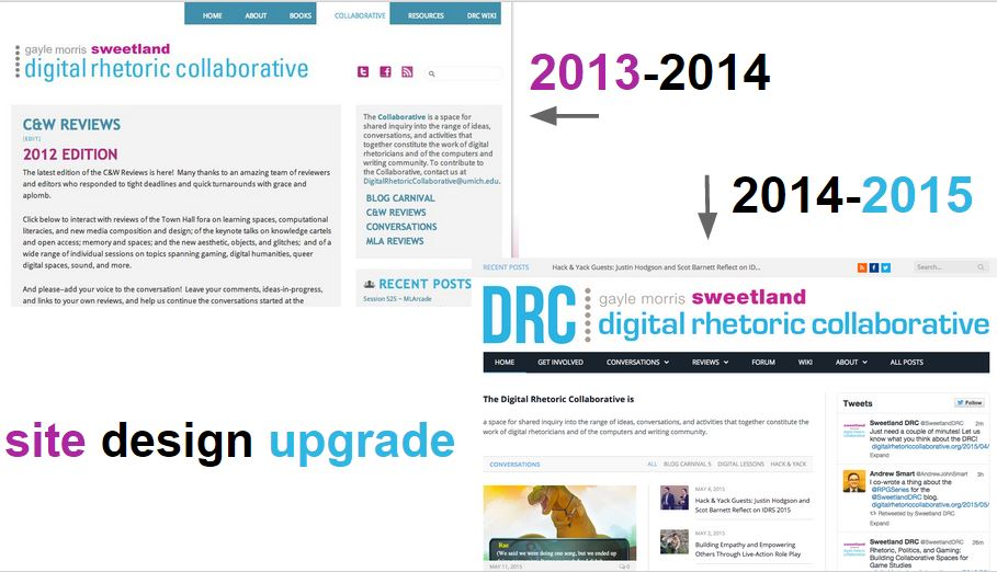 The redesign images contrast 2013-14 with more text and fewer images to information being rearranged and with more images and different colors for 2014-15.