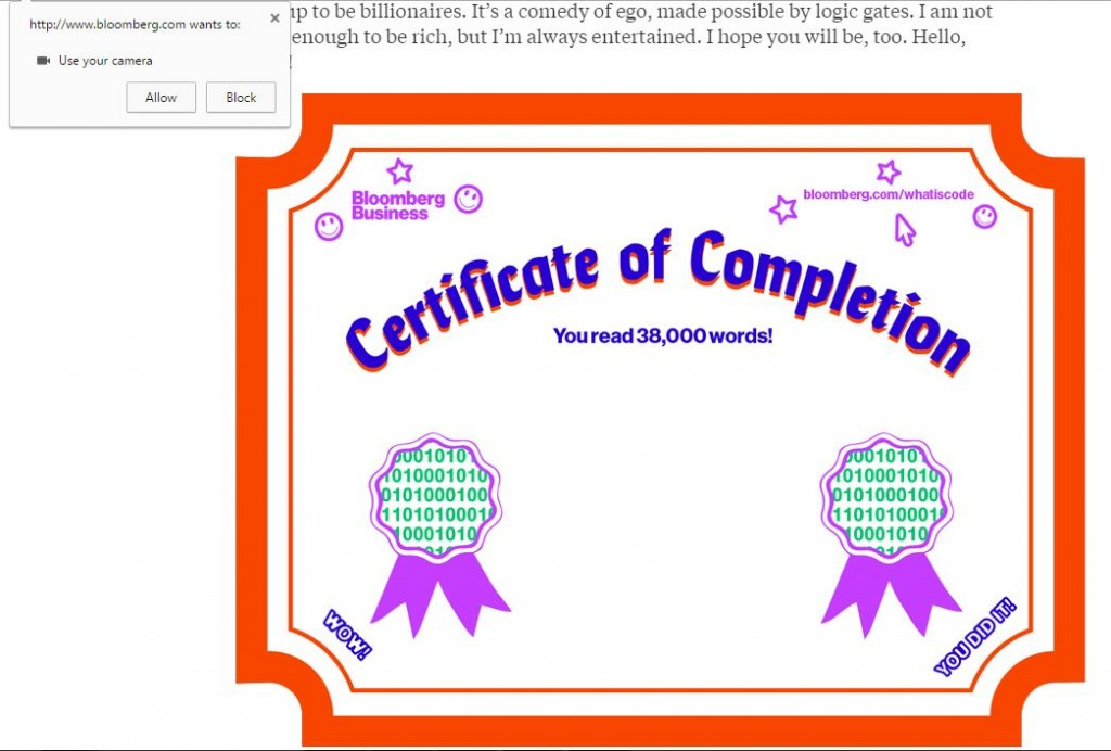 Screen Capture of What is Code's invitation to add reader's photo to the article's certificate of completion