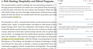 Screenshot from collaborative annotation of Ethical Programs