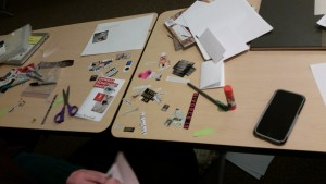 Quarter size zine in progress, zine workshop at Kenyon