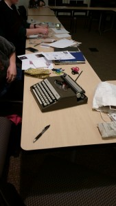 Portable typewriter for zine workshop at Kenyon