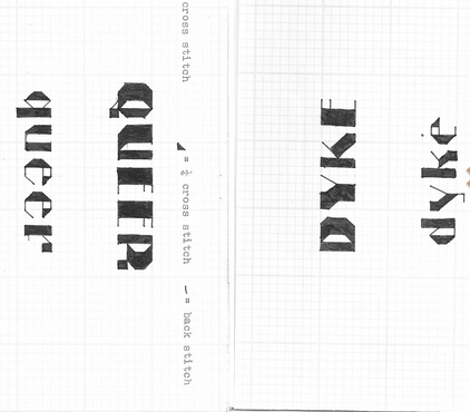 Two pages from a zine that give cross stitch patterns for the words queer and dyke in gothic text