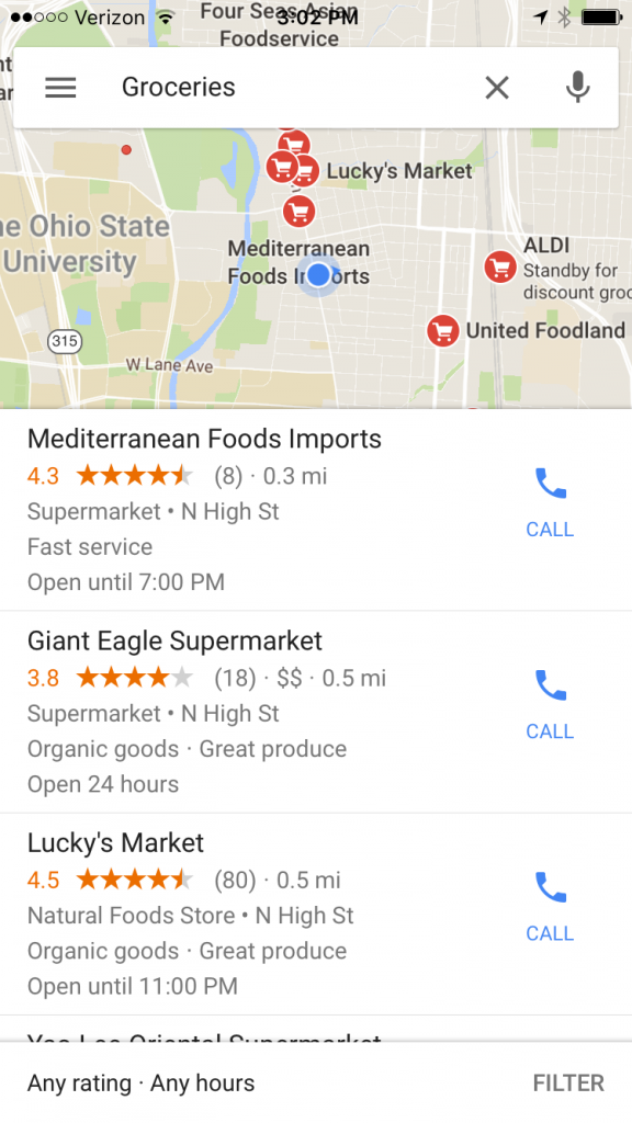 "An iPhone screenshot of a Google Maps search for ""groceries."" The map shows locations for several grocery stores near Ohio State University. Citation: Google Maps. ""Google Maps Search: Groceries."" Copyright: Fair Use."
