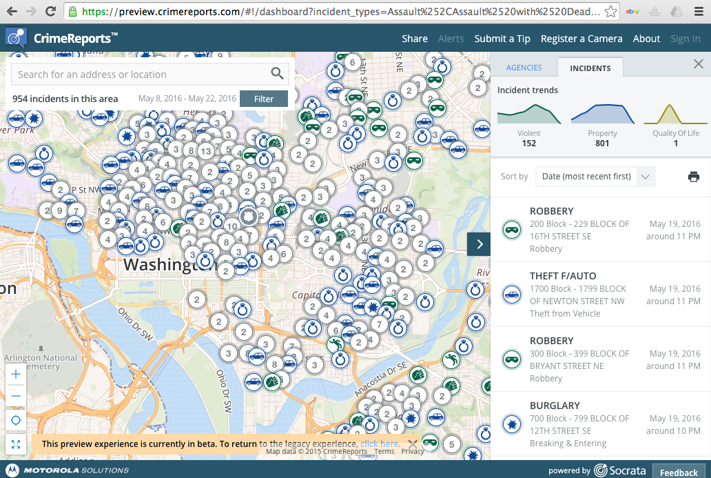 "A screenshot from CrimeReports.com showing a map of police reports in the Washington D.C. area. Dozens of incidents are marked by location. On the right, a feed provides information on each incident. Citation: CrimeReports.com. ""CrimeReports: Washington D.C., May 2016."" Copyright: Fair Use. <goo.gl/Wj4eRI>"