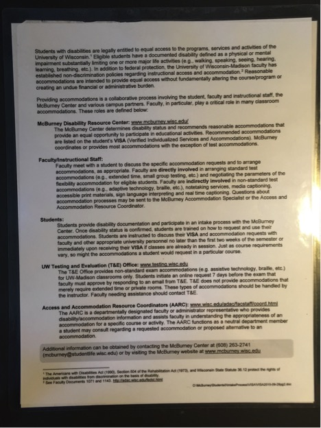 Photocopy of the back of the McBurney VISA form. Primarily text outlining what constitutes a legally recognized disability and how the accommodation process works.