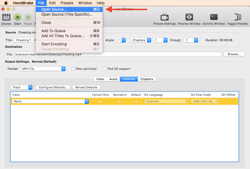 "This image is a screen capture of the HandBrake interface. The ""File"" drop-down menu is open with ""Open Source"" selected."