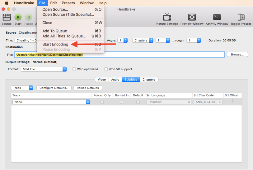 "This image is a screen capture of the HandBrake interface. The ""File"" drop-down menu is open with a red arrow indicating that ""Start Encoding"" should be selected."