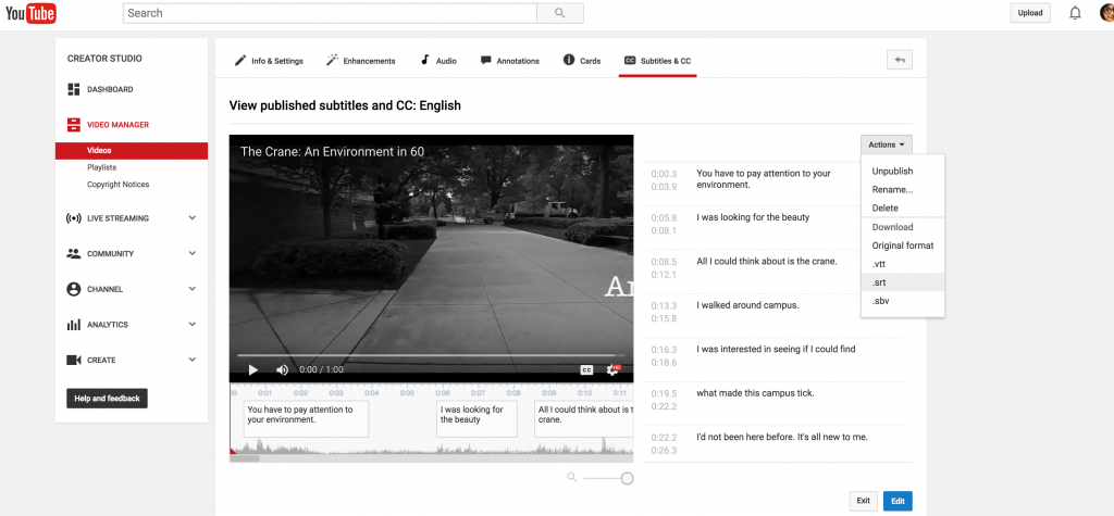 "This image is a screen capture of YouTube's ""view published subtitles and CC: English"" interface. On the left is the video post-caption editing; on the right side, the transcription track is visible. On the ""Actions"" drop-down menu, the "".srt"" option is selected."