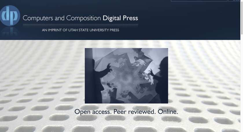 A screen capture of the CCDP website. Featured is an image of a person whose silhouette is creating shadow puppets. Beneath the image is the tagline *Open access. Peer reviewed. Online*.