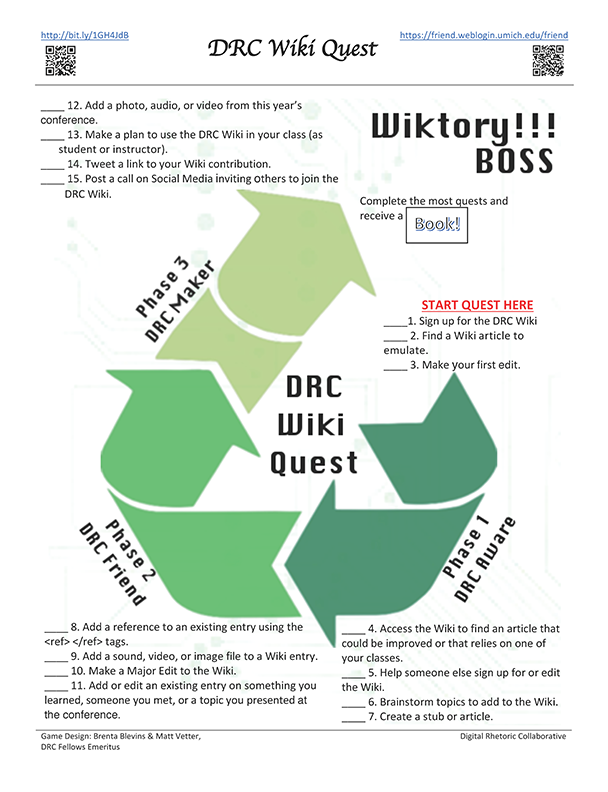 Image of Digital Rhetoric Collaborative WikiQuest game board.