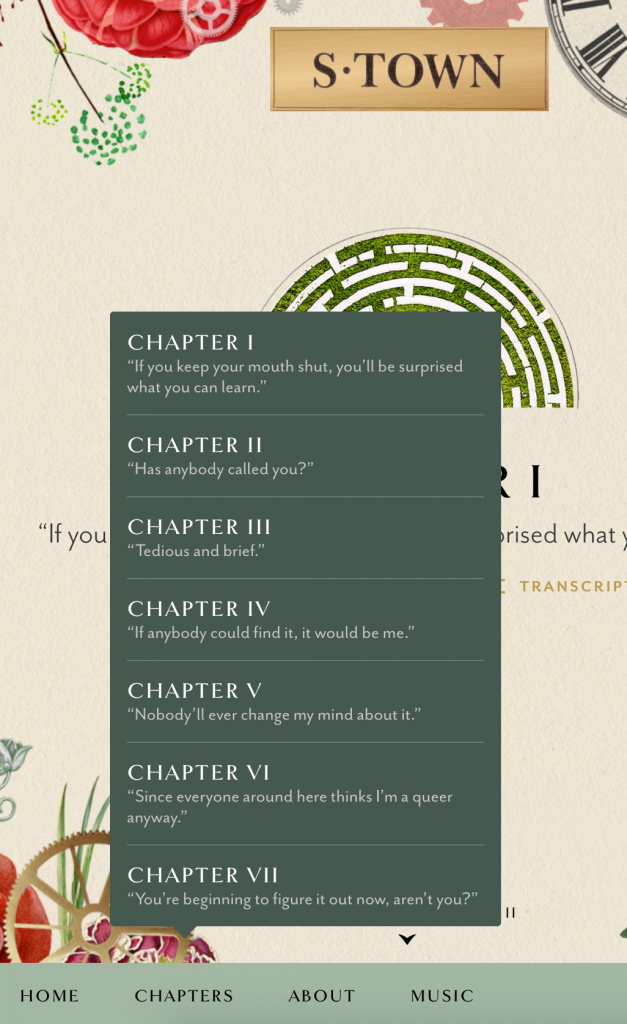 "Screen capture showing S-Town's website and the set-up of ""chapters."""