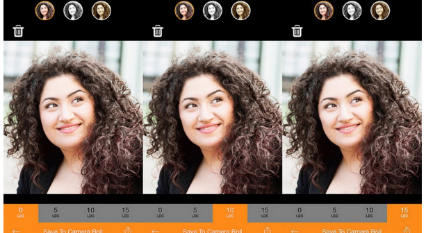 Screenshot of skinneepix app's face modification