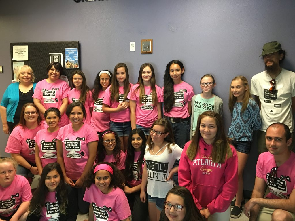 The campers and coaches of Girlhood Remixed Technology Camp 2016.