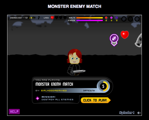 The female warrior from Chloe's computer game Monster Enemy Match.
