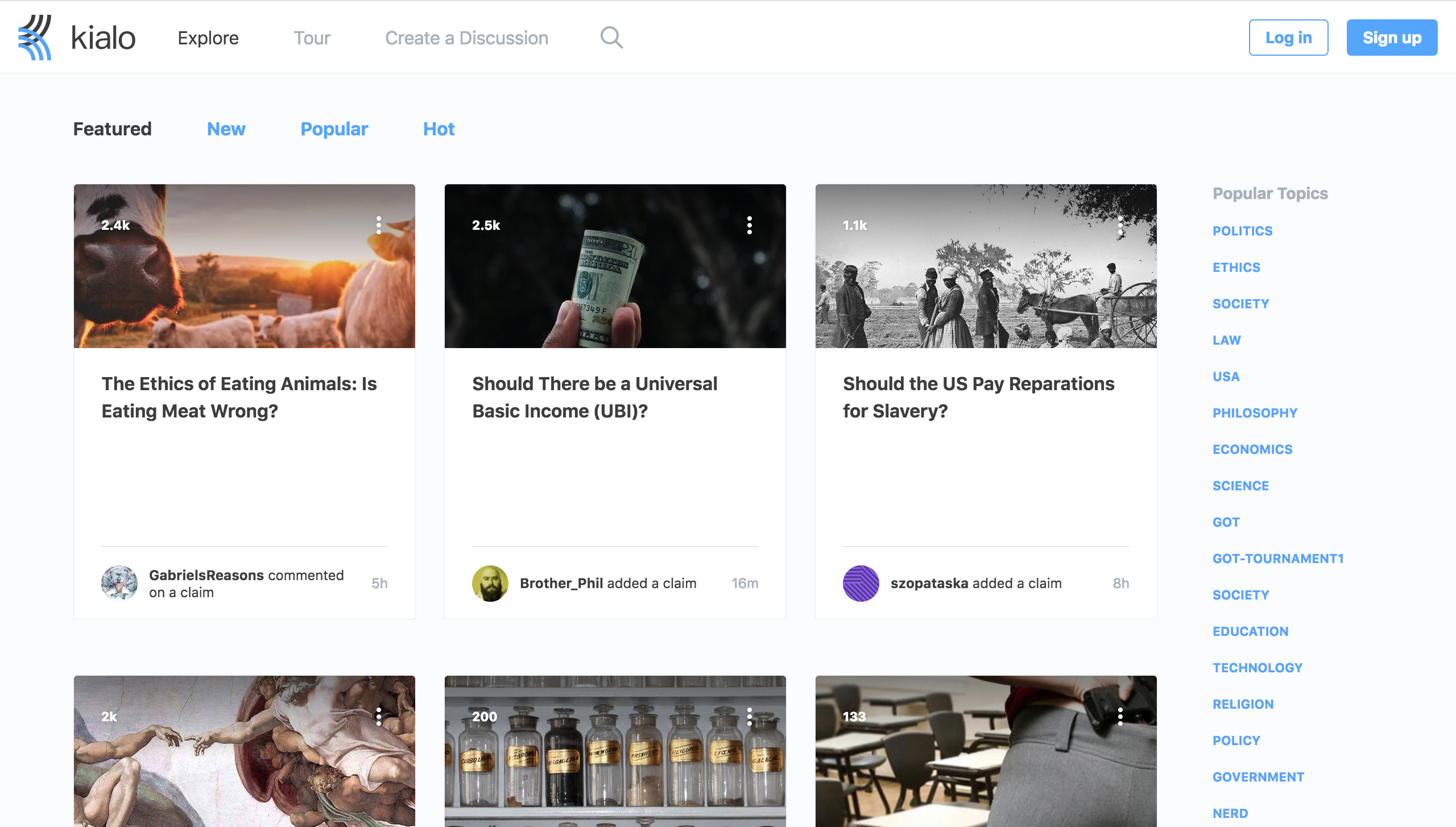"""Kialo """"Explore"""" page showing existing debate topics ready for users to join."""