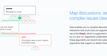 The interactive mapping feature of Kialo.