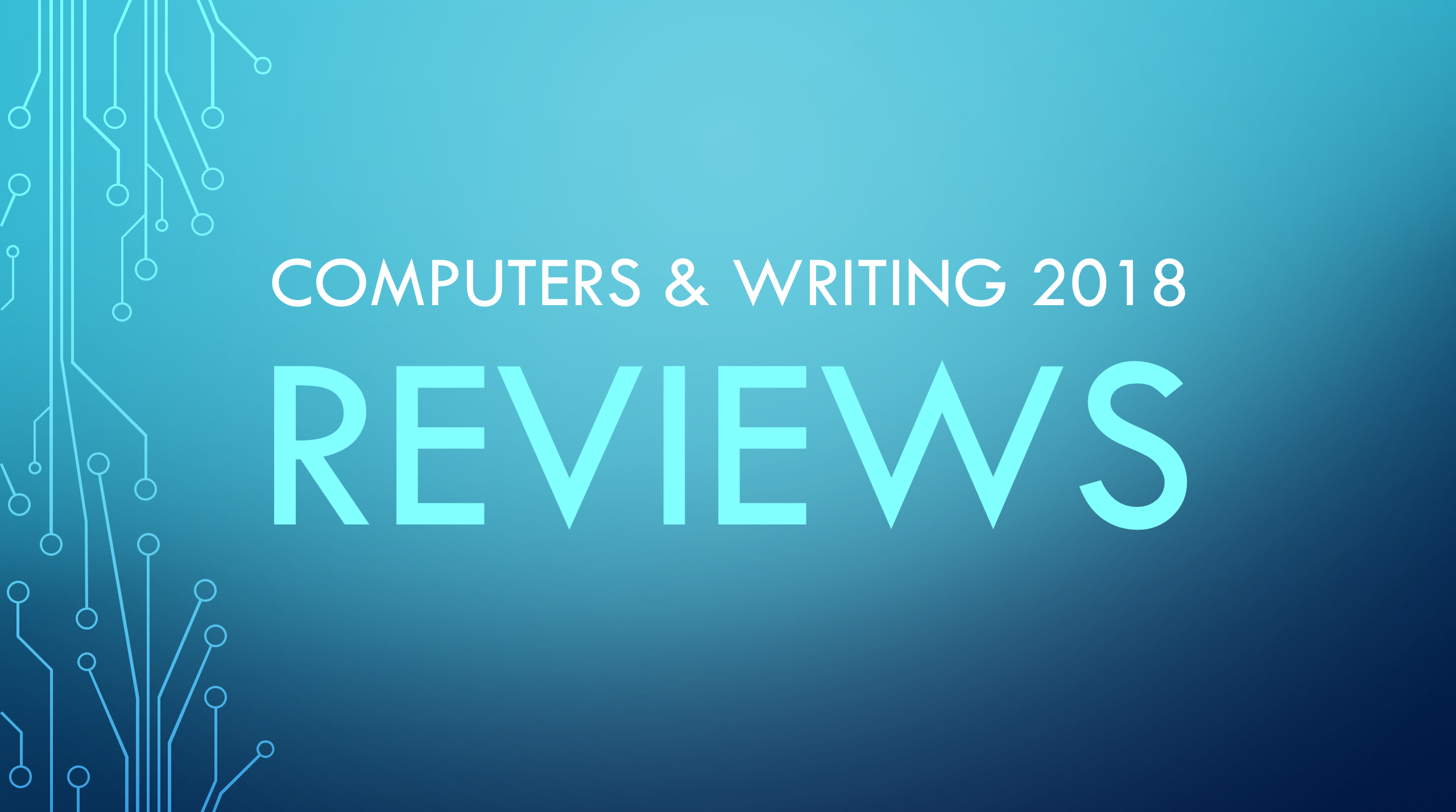 Computers & Writing 2018 reviews banner.