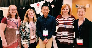 A group picture of DRC fellows at Computers & Writing 2018! Left to right: Adrienne Raw, Lauren Garskie, Jason Tham, Lauren Brentnell, Naomi Silver