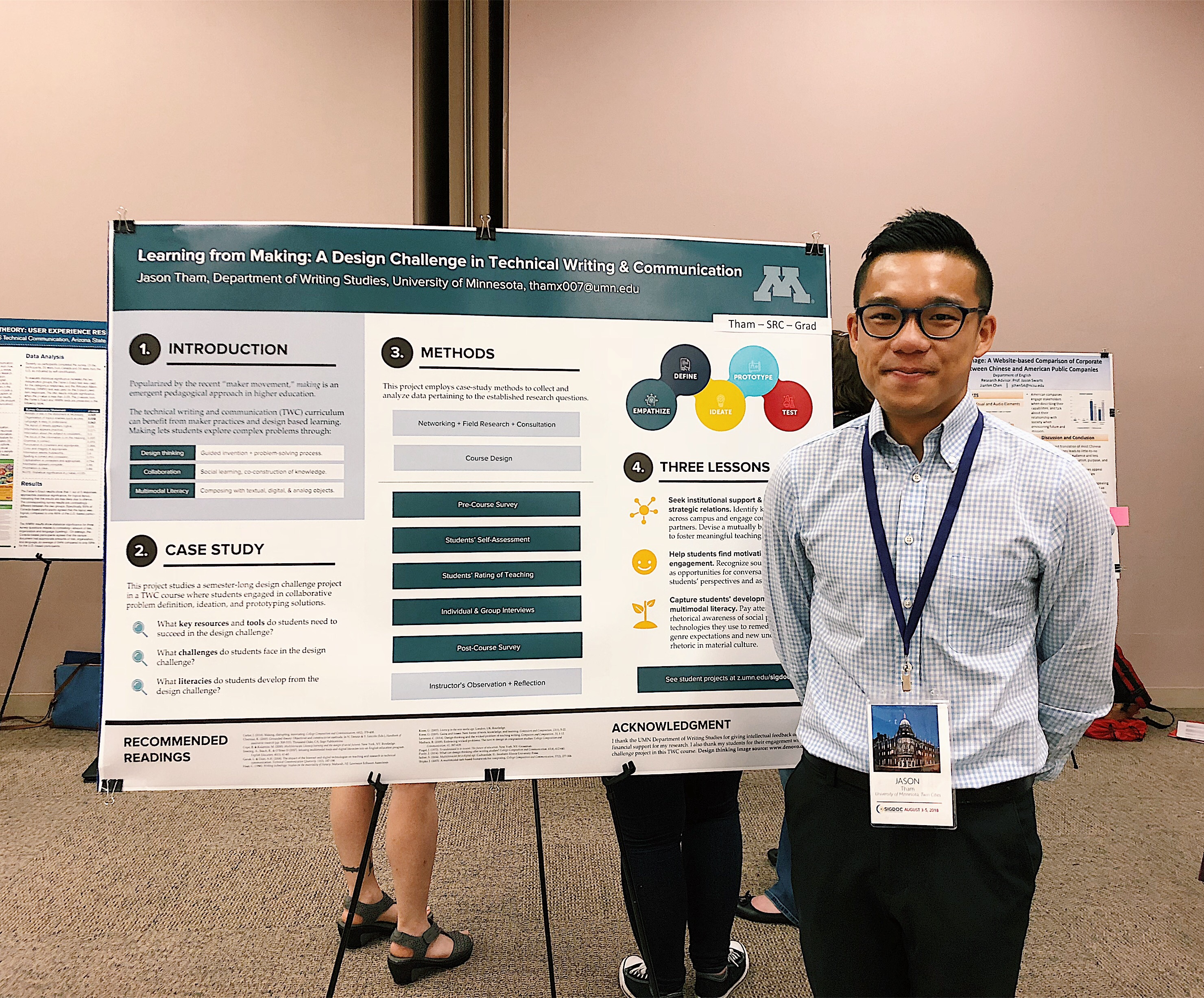 Image of Jason Tham with his poster at SIGDOC 2018