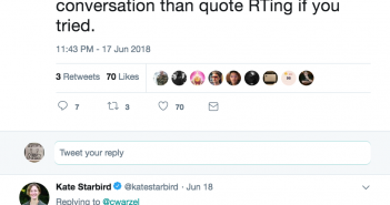 """Charlie warzel tweet: """"not sure you could come up with a feature less inclined toward healthy conversation than quote RTing if you tried."""""""