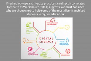 Slide questioning why Basic Writers are denied digital literacy instruction