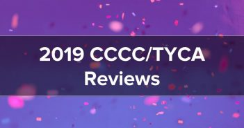 "Banner featuring confetti in the background with title ""2019 CCCC/TYCA Reviews"" in the foreground."