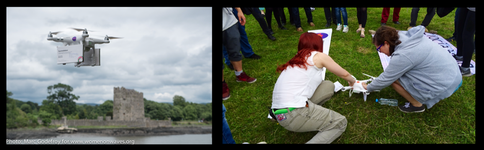 Two images again.     This time the image on the left is of a drone flying a box over a river separating germany and Poland.     The image on the right is of two women grabbing medications from the drone. There is a crowd of people surrounding them.