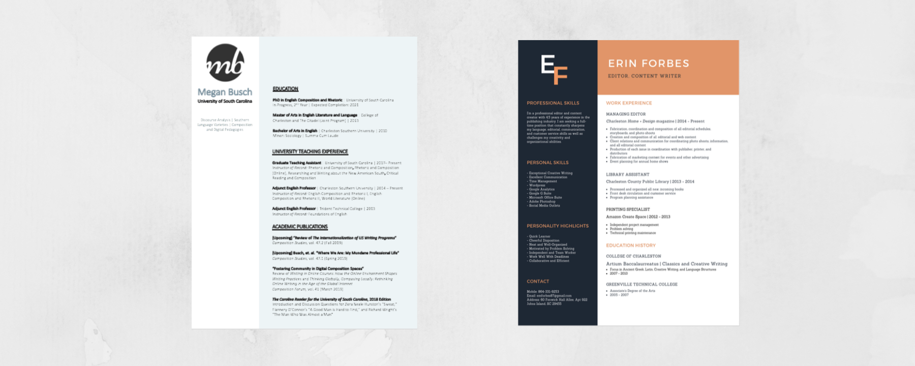 CV and resume created with powerpoint and canva.