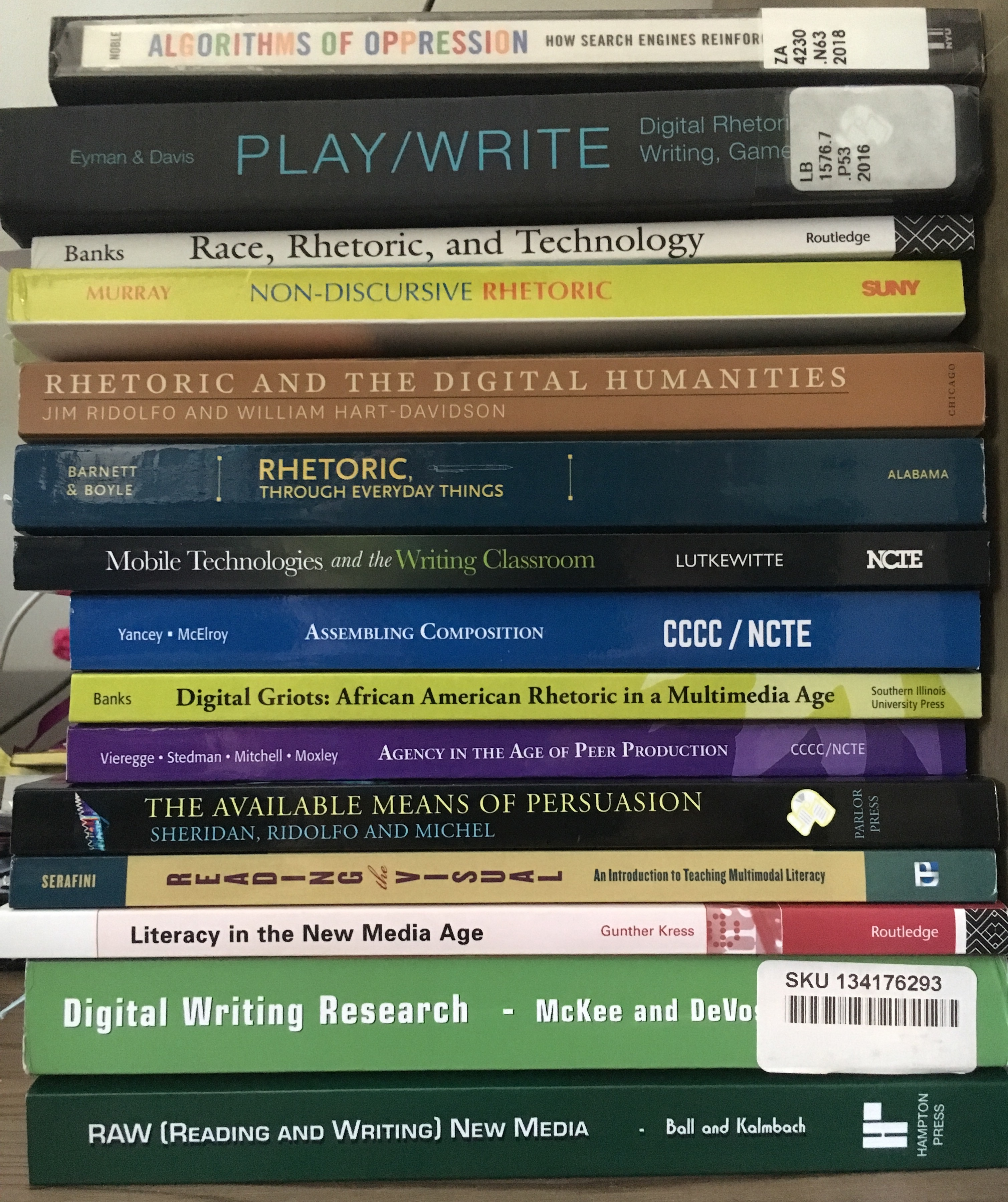 A partial list of books contributing to the design of Digital Rhetoric & Literacy.