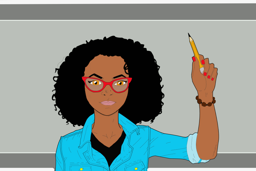 Digital drawing of a young female designer of color holding up a pencil
