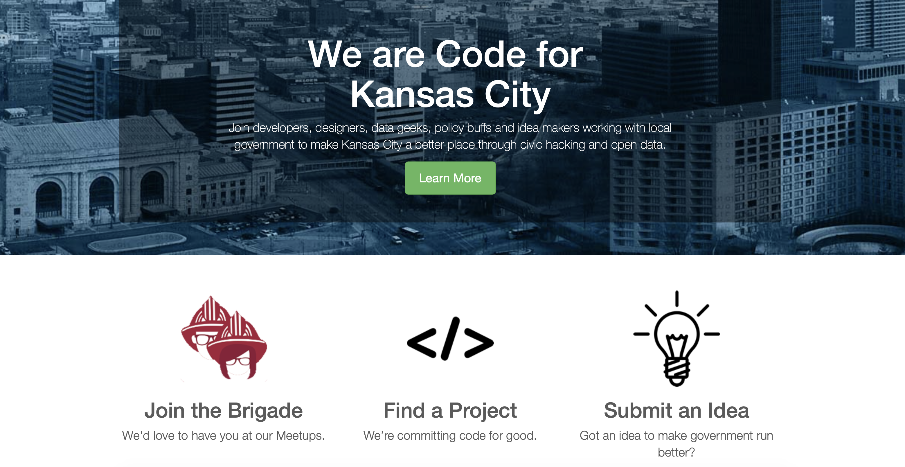 Figure 1: Code for KC website homepage where volunteers can review GibHub readme files and learn about in-process and delivered projects