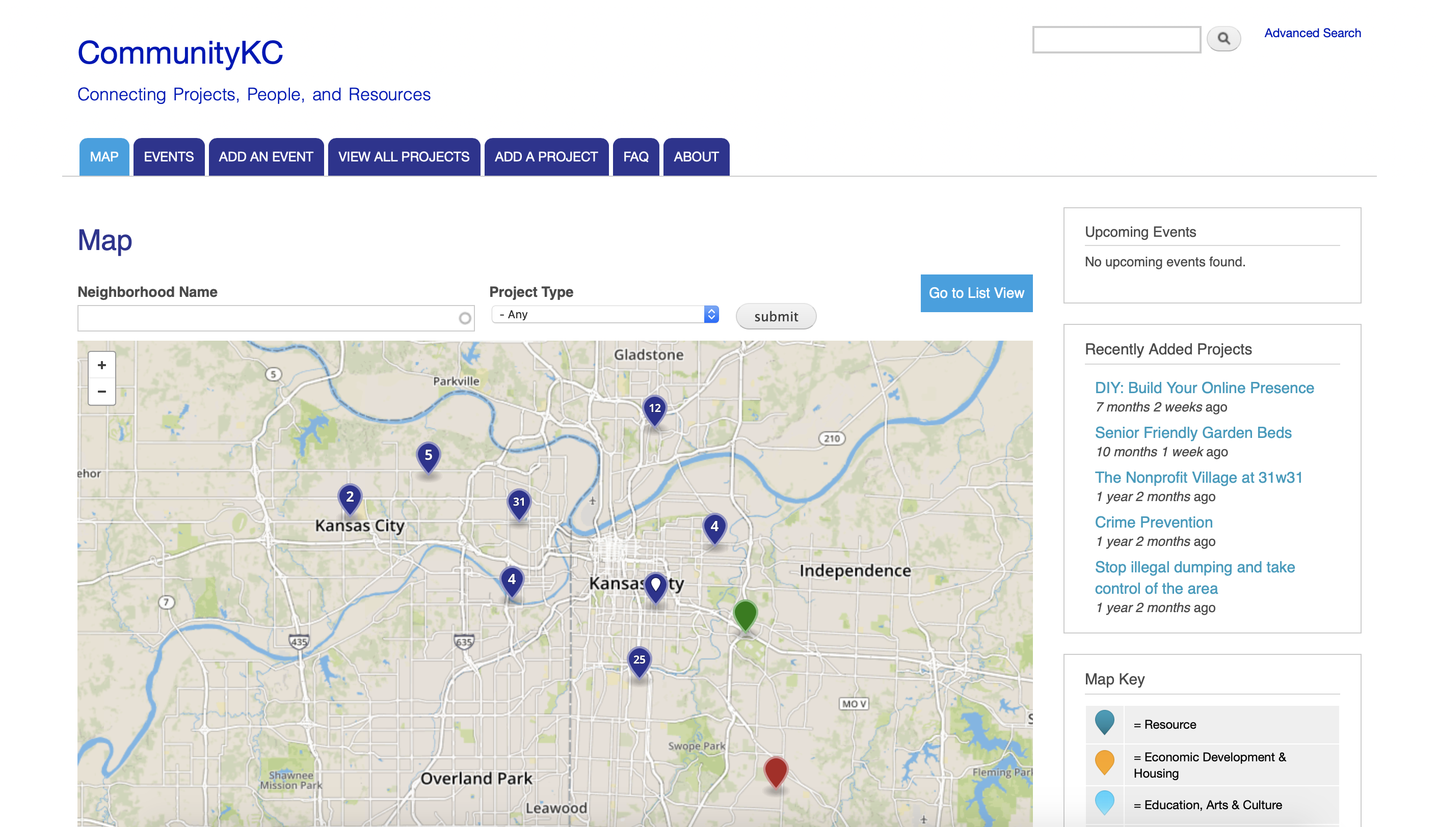 Figure 2: CommunityKC homepage where Kansas City residents can locate projects they may be interested in volunteering for; organizations are sorted by type, location, and self-described volunteer needs.