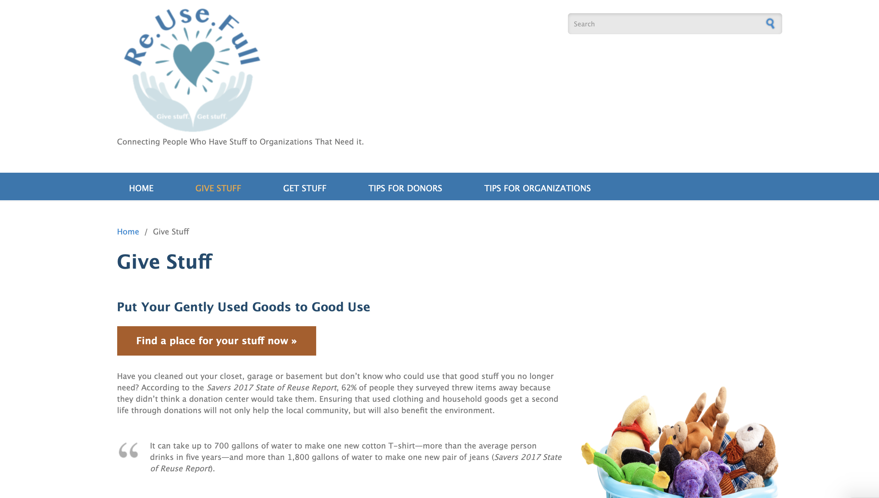 "Figure 3: Current ""Give Stuff"" page for Re.Use.Full, which will continue to be revised as advanced technical writing students produce the content; May 10, 2019 is the estimated completion date."
