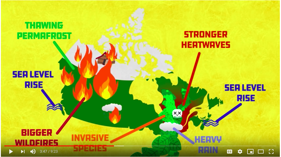 Screenshot from Global Weirding video shows a Canadian map overlaid with information about the impact of climate change on Canada