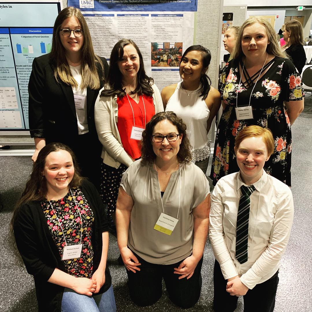 Erica with some of the students who were able to attend and present at the Undergraduate Research Symposium on April 18, 2019