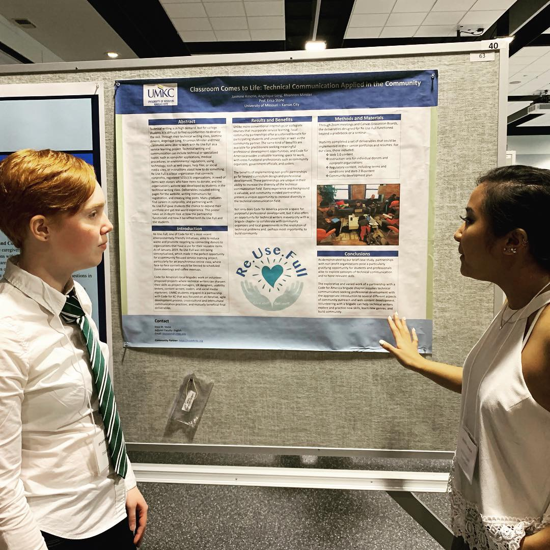 Rhiannon Minster and Jasmine Amerin discuss their poster, Classroom Comes to Life: Technical Communication Applied in the Community