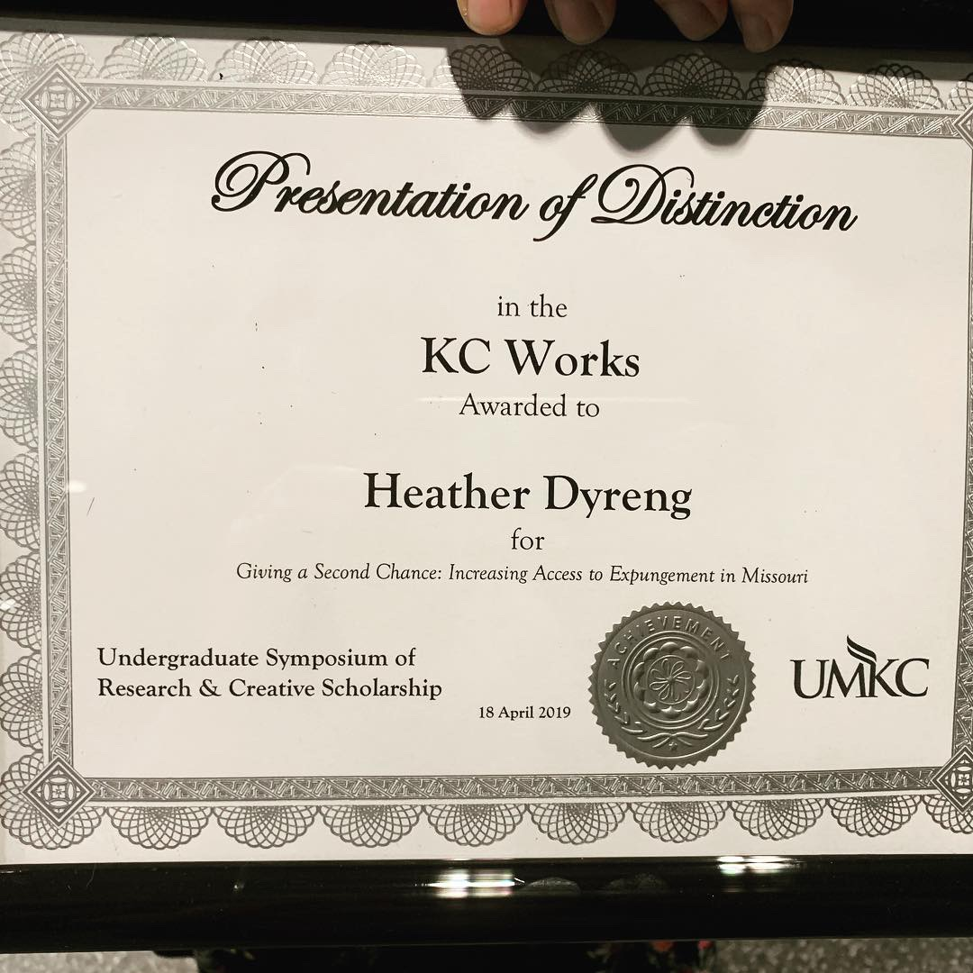 Heather Dyreng's KC Works award for her presentation of distinction