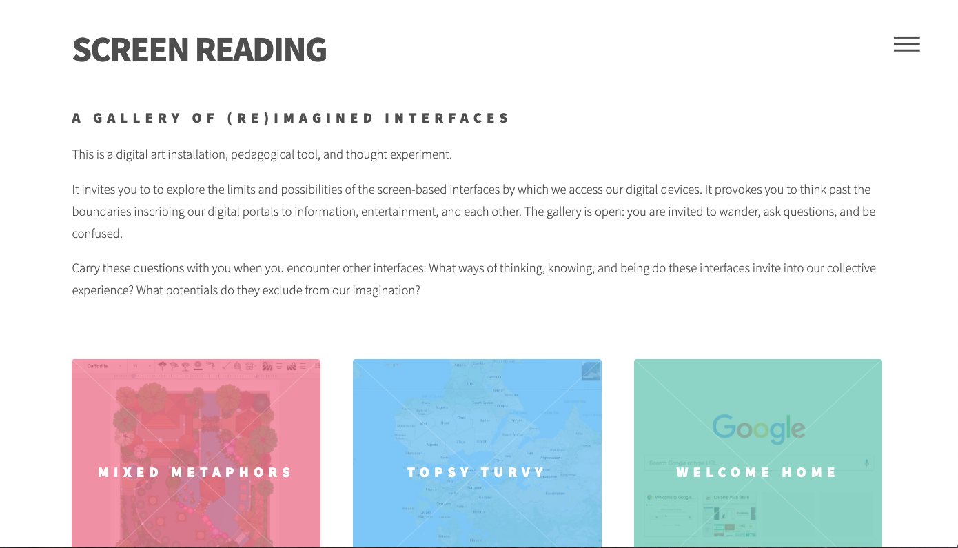"A screen capture of Monea's ""Screen Reading"" project homepage."