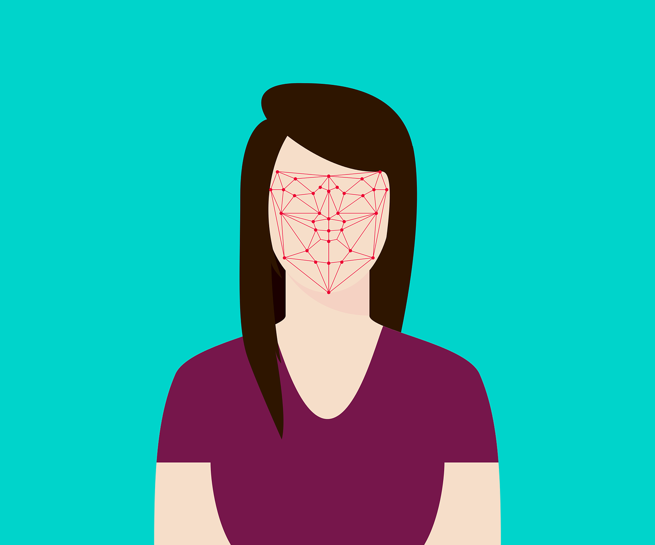 Illustration of a woman who's face is obscured with red lines symbolizing facial recognition technology.