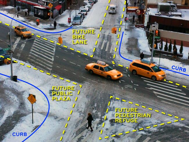 image of a street intersection marked up with sneckdown locations