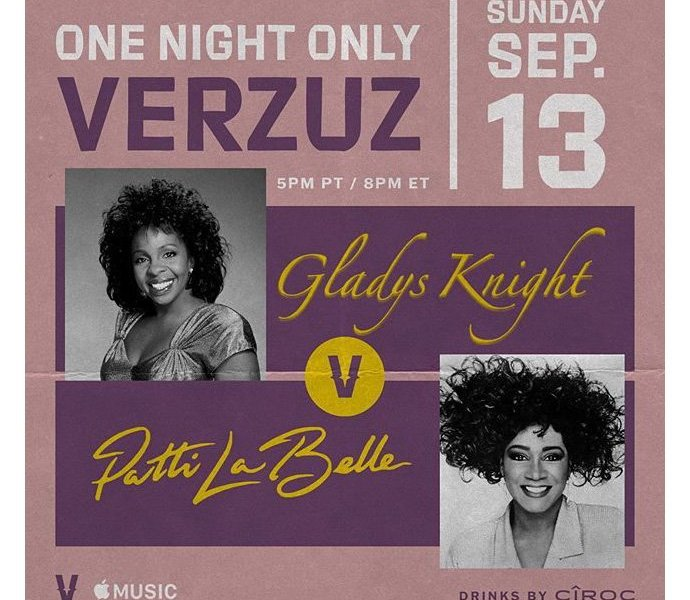 Verzuz Battle flyer: Purple flyer with images of Gladys Knight and Patti LaBelle with logistics of event: Sunday, September 13th, 5pm PT/8PM ET