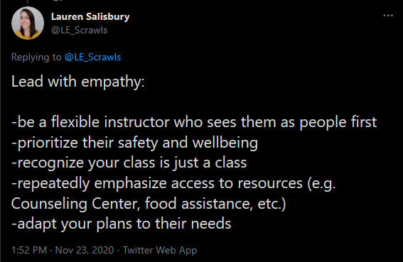 Tweet from @LE_Scrawls listing strategies instructors can use to lead with empathy